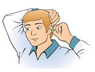 耳栓を入れている男性のイラスト